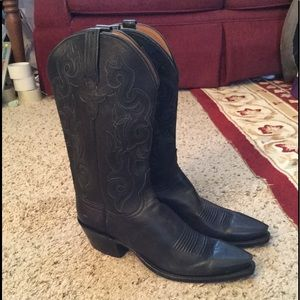 LUCCHESE CLASSICS HANDMADE BLACK COWBOY BOOTS NICE